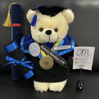 Boneka Wisuda Custom Teddy Bear Cream +-40cm Selempang & Tabung Boneka