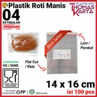 14x16 cm Plastik OPP TEBAL (LEM)   Plastik Roti Manis / Roti Bluder