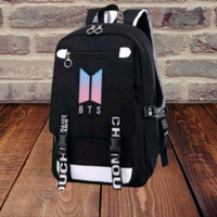 tas ransel backpack anak sekolah logo bts hitam