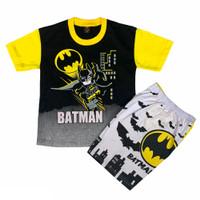 JBW Setelan Baju Anak Cowok BATMAN Usia 1-8Th Stelan Kaos Balita - Hitam, 4