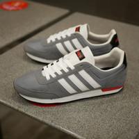 Sepatu adidas neo city racer grey white fashion pria casual original - 40