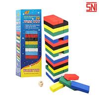 Mainan Susun Balok Kayu Warna / Jenga Stacko Wooden Besar 54 Balok