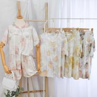 One Set Celana Pendek Wanita Piyama Baju Tidur Busui Friendly - Hijau