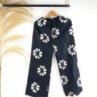 Celana Kulot Wanita Panjang Motif Tie Dye Bunga Bunga Bahan Rayon