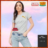Baju Kaos Branded Puma Gold Non Original Wanita Pria Abu Muda S M L XL
