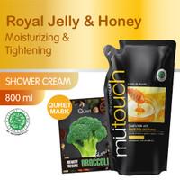 MuTouch Goat's Milk Shower Cream Royal Jellyand Honey 800ml+Quret Mask