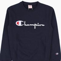 Champ. Pullover Sweatshirt - L, Biru