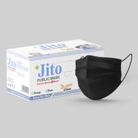 JITO Masker Medis 3 Ply Earloop Hitam - Box isi 50 pcs