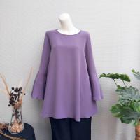 [Lengan Panjang] Blouse Wanita Big Size 2L, 3L, 4L & 5L Ungu Lavender - 2L (XXL)