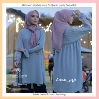 Baju Atasan Wanita Tunik Polos Adem Ghaniya Tunik Blue Grey by HR L/XL