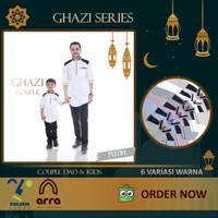Baju Koko Couple ARRA GHAZI Kurta Pakistan Lengan Pendek Ayah dan Anak - Putih, L Kids