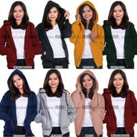 Jaket Sweater Hoodie Zipper Polos Wanita Murah Berkualitas Promo