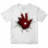 Baju Anak Kaos Anak Anime Iron Man Hand Usia 1-12tahun -Putih,S - S
