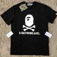 KAOS BAPE BATHING APE BLACK SMALL LOGO PIRATE WHITE GRADE AUTHENTIC1:1