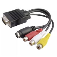VGA to S-VIDEO 3 RCA Composite AV TV Out Adapter Converter Cable Cord