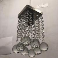 Lampu gantung kamar tangga minimalis kristal baso kotak chrome 7777/1p