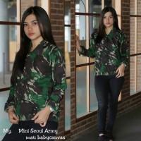 Jaket Wanita Minie Seoul Army Loreng Baju Outerwear Best Seller 693