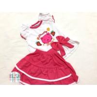 Setelan Bayi / Baju Bayi Anak Perempuan 0-8 Bulan Motif Kucing Rok