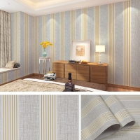 Wallpaper dinding garis putih silver