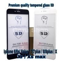 Tempered glass warna full 5D 4D/3D iphone 6 6plus 7 7plus 8 8plus x