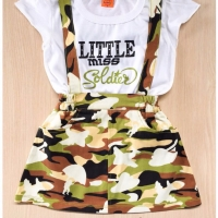 Stelan baju kaos rok anak perempuan army loreng jumsuit