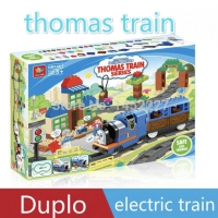 Mainan anak thomas kereta api listrik 180 pcs kompatibel dengan duplo