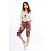 Celana Pendek Jogger Wanita Cropped Corak Batik - 0133 JFS