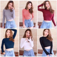 Basic Crop Top Wanita Lengan Panjang Baju Best Seller Shirt 1044
