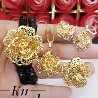 xuping set perhiasan kalung gelang cincin lapis emas 24k 14110