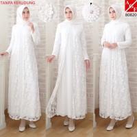Baju Gamis Putih Gamis Sutera Kombinasi Brukat M sd 5L