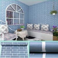 Wallpaper Dinding Batu Bata Biru Les Putih