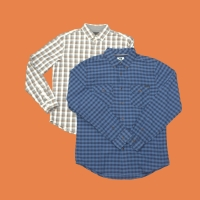 Long Sleeve Plaid Shirt BANANA REPUBLIC (Grey), QUICKSILVER (Blue)