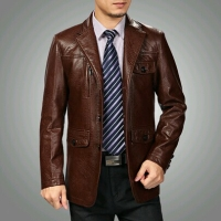 Jaket kulit safari pria warna coklat size XL