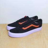 Sepatu Vans OldSkool - Hitam List Coklat (PREMIUM QUALITY) FREE BOX