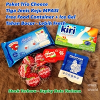Paket MPASI Trio Cheese Tiga Jenis Keju Bayi Anak Belcube Kiri Babybel
