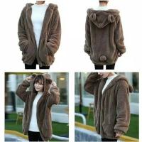 Jaket bulu panda import wanita big size fit xxl