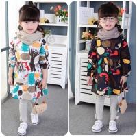 Baju Lebaran Anak Impor : Dress Tangan Panjang Motif Binatang