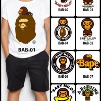 Kaos / Baju Anak Design 1-9 Baby Milo / Bape (free custom nama)