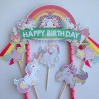 Cute Unicorn Cake Topper Hiasan Dekorasi Kue Ulang Tahun