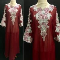 Kaftan Bordir Wanita, Gamis Kaftan Payet, Baju Muslim Fashion Wanita