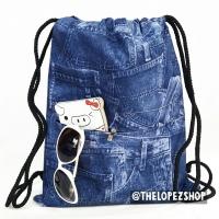 Backpack tas jaring / tas serut jeans