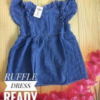 Dress Ruffle jeans anak perempuan bayi cewek baju lebaran