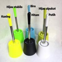 Sikat toilet pembersih kloset bahan stainless kombinasi plastik warna