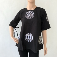 Baju blouse atasan lengan pendek batik cap bola katun wanita