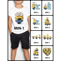 Kaos / Baju Anak Minions Banyak Motif (Free custom nama) Print DTG