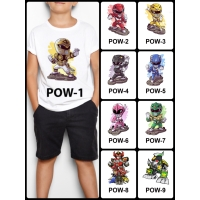 Kaos / Baju Anak Power Ranger 1-9 (Free Custom Nama) Print Dtg