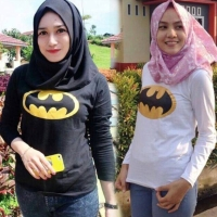 Baju kaos tshirt panjang batman murah muslim hijab hijabers