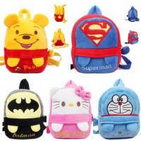 Tas ransel anak SK kids backpack bag beludru import karakter kartun