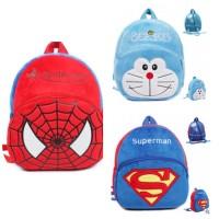Tas ransel sekolah anak M kids backpack bag beludru import karakter