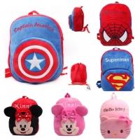Tas ransel anak sekolah L kids backpack bag beludru import karakter